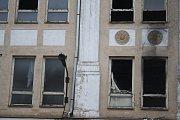 Požárem poškozený objekt bývalé krnovské textilky Karnola.