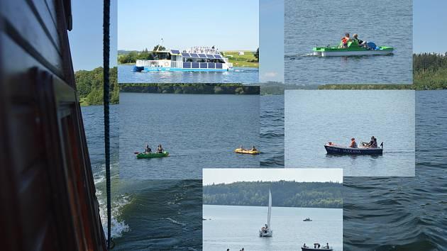 Na přehradě se prohánějí i další druhy lodí.