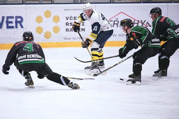 Hornobenešovští hokejisté (vzelenočerném) prožili rozporuplnou sezonu.