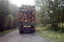 Kamionové soupravy naložené dřevem nejsou na silnici vedoucí skrz Karlovice výjimkou. Není divu, že je tam silnice zničená.