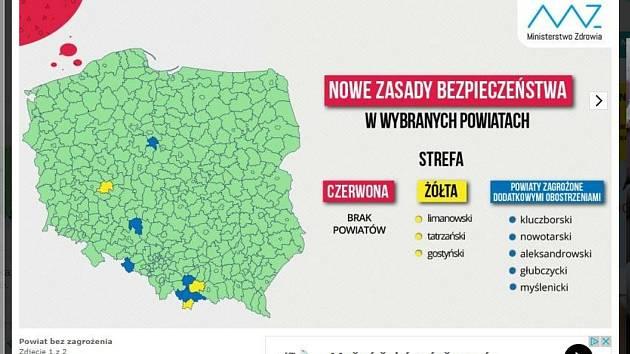 Hlubčický poviat sousedí s Osoblažskem, Krnovskem a Opavskem. Proč na mapě koronavirových  rizik v Polsku dostal modrou barvu?