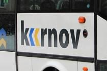 Nápis Krnov a v něm dvě šipky. Mohou to být dvě řeky nebo odkaz na turistickou šipku. Nové logo města Krnov spojí všechny městské společnosti.