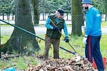 Dobrovolníci ve Vrbně pod Pradědem se pustili do shrabávání spadaného listí v zámeckém parku.