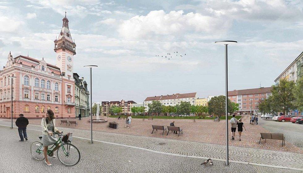 Žádný asfalt a vodní prvky. Tak bude vypadat krnovské náměstí v budoucnosti podle studie architektů z ATELIERU 111. Zdroj: MěÚ Krnov