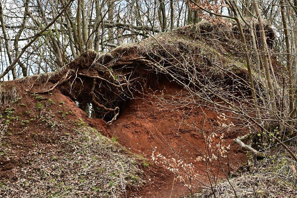 Venušina sopka nad Mezinou je pokryta červenohnědou struskou a sopečným pískem.