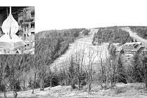 Pohled na Červenohorské sedlo: Lom, kde bude stát památník obětí hor, leží kousek od sjezdovky při cestě na Vřesovou studánku. Jednotlivé prvky budoucího památníku obětí hor už vznikají v dílně Karla Švédy ( ve výřezu).