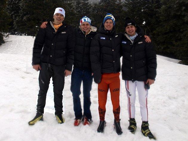 BĚŽCI NA LYŽÍCH reprezentující jesenický tým. Na snímku zleva Václav Sedláček, Michal Kautz, Adam Fellner a Pavel Ondrášek.