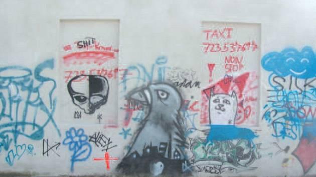 Zeď na legální graffity v Krnově na Mlynářské ulici, aktuální stav.