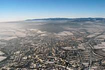 Fotky Krnovska a Bruntálska z ptačí perspektivy v zimě.
