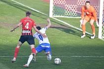 Utkání 26. kolo první fotbalové ligy: FC Baník Ostrava – SFC Opava, 10. dubna 2021 v Ostravě. (zleva) Dalibor Večerka z Opavy a David Buchta z Ostravy.