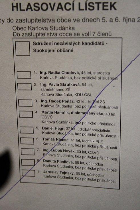 Komunální volby 2018 v Karlově Studánce.