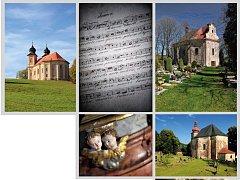 Foto broumovských kostelů z pozvánky na výstavu v Rýmařově.