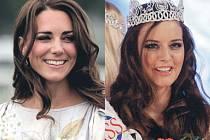 Vévodkyně Kate Middletonová a Česká Miss Tereza Chlebovská mají společný dokonce i neposedný pramínek vlasů nad obočím.