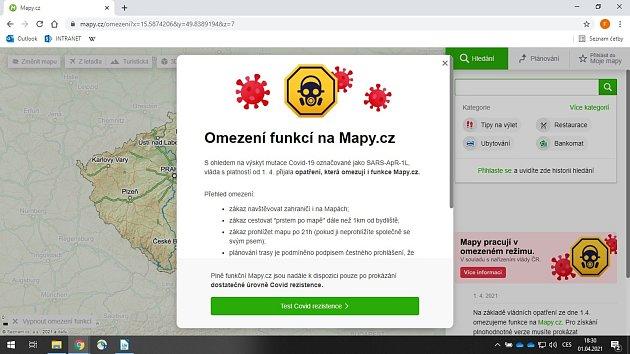 Portál mapy.cz si neodpustil aprílový žertík, který paroduje vládní nařízení.