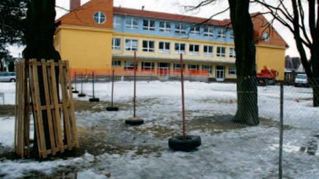 BEDNĚNÍ. Strom, který přežije, je chráněn bedněním, aby se mu při pracích na stavbě něco nestalo.