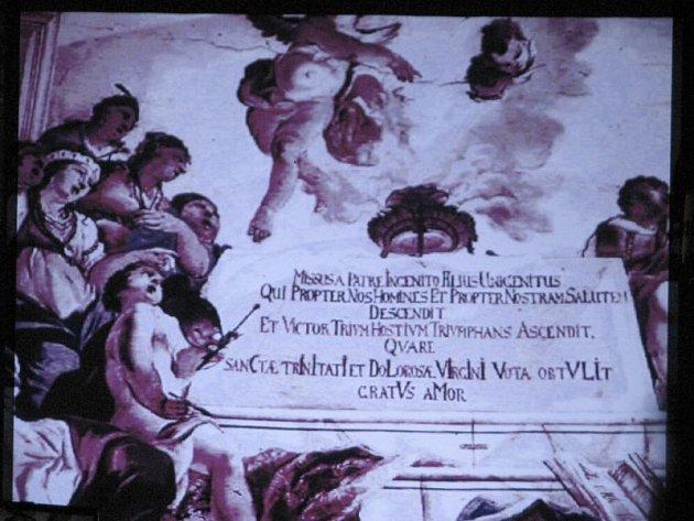 Originální fresky, které dokončil František Eckstein roku 1727, byly z velké části zničeny koncem války, když kostel na Cvilíně zasáhl dělostřelecký granát. Díky podrobné fotodokumentaci byly ztracené originály nahrazeny replikami.