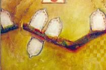 Zásah v pravou chvíli. Obraz Pavla Sasína vytvořený kombinovanou technikou na podkladě o rozměrech 115 krát 96 centimetrů.