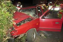 Zásah hasičů u nehody v Horním Městě.