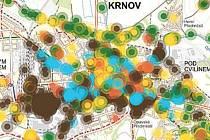 Pocitová mapa Krnova. žlutá označuje místa, kde to máme rádi, tmavě hnědá je to ošklivé, zelená: trávíme zde volný čas, modrá: zde nakupujeme, světle hnědá: na tato místa jsme hrdí.