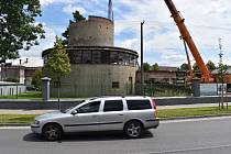 Demolice vodojemu Karnoly, červenec 2020.