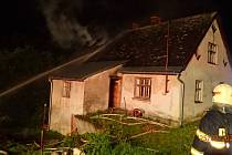 Požár rodinného domu v Rýmařově.