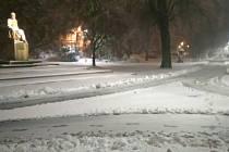 Krnov se přes noc z 18. na 19. dubna ocitl pod sněhem.
