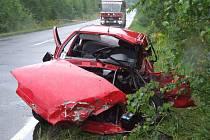 Tragicky skončil i střet osobního vozu s cisternou poblíž Slezské Harty v červenci.
