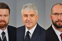 Na snímku zleva: starosta Krnova Tomáš Hradil (Krnovští patrioti), místostarosta Krnova Pavel Moravec (Krnovští patrioti), místostarosta Miroslav Binar (ANO).