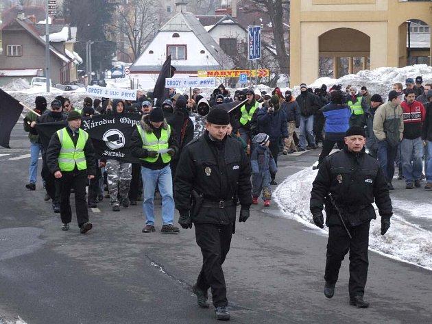 Národní odpor připravil vloni v únoru demonstraci také v Bruntálu.