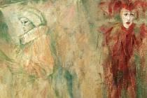 Jedno z děl Heleny Hurtové. Autorka dílo nazvala Opona a jde o olej na sololitu.