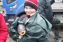 S velkým zájmem veřejnosti se setkali rybáři při výlovu rybníka Výtažník u krnovského Petrova rybníka.