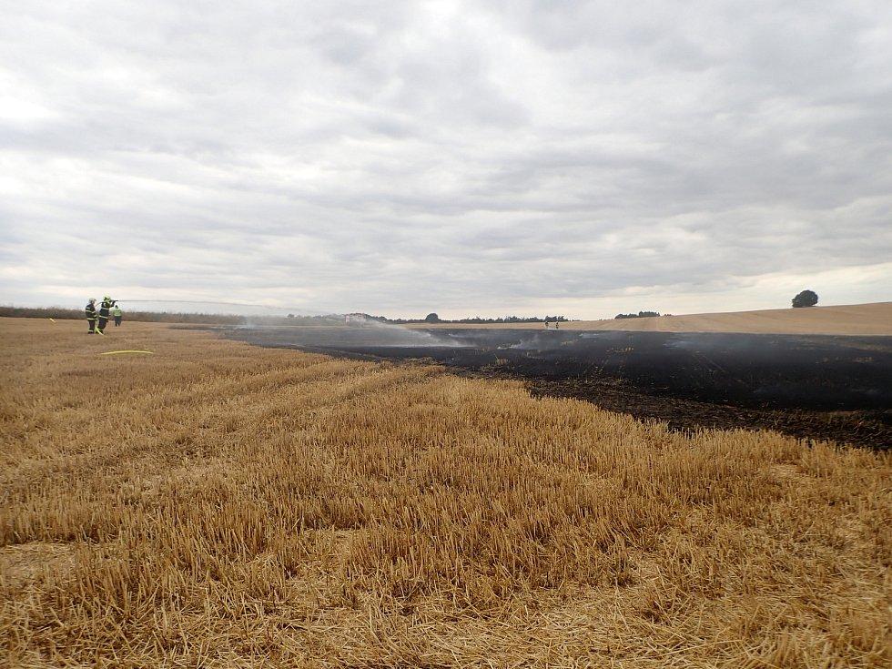 Strniště u vlakové zastávky Horní Povelice po požáru, 5. července 2019.