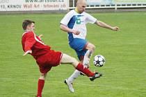 První branku Krnova vstřelil po krásné české uličce od Ondřeje Bartoníčka Jan Zelník (na snímku v bílém). Krnovští pak přidali ještě jeden gól a získali tři body.