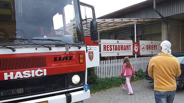 Požár v restauraci Orient.