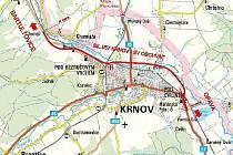Obchvat Krnova vyznačený červenou čárou je dlouhý 7,5 kilometru. Zatím ale bylo vydáno stavební povolení jen na šest kilometrů. Na několika úsecích  je totiž ještě třeba dořešit vlastnické vztahy s majiteli pozemků a různé technické problémy.