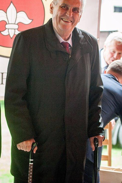 Prezident Miloš Zeman navštívil na Osoblažsku Slezské Pavlovice.