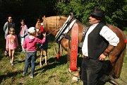Kočí Pavel Gašparik na Pomněnkové slavnosti představil svou kobylku Dragu a pochlubil se, jaký jí pořídil darmovis. Darmovis se říká širokému ozdobnému koženému pásu, protože visí na koni zbůhdarma.