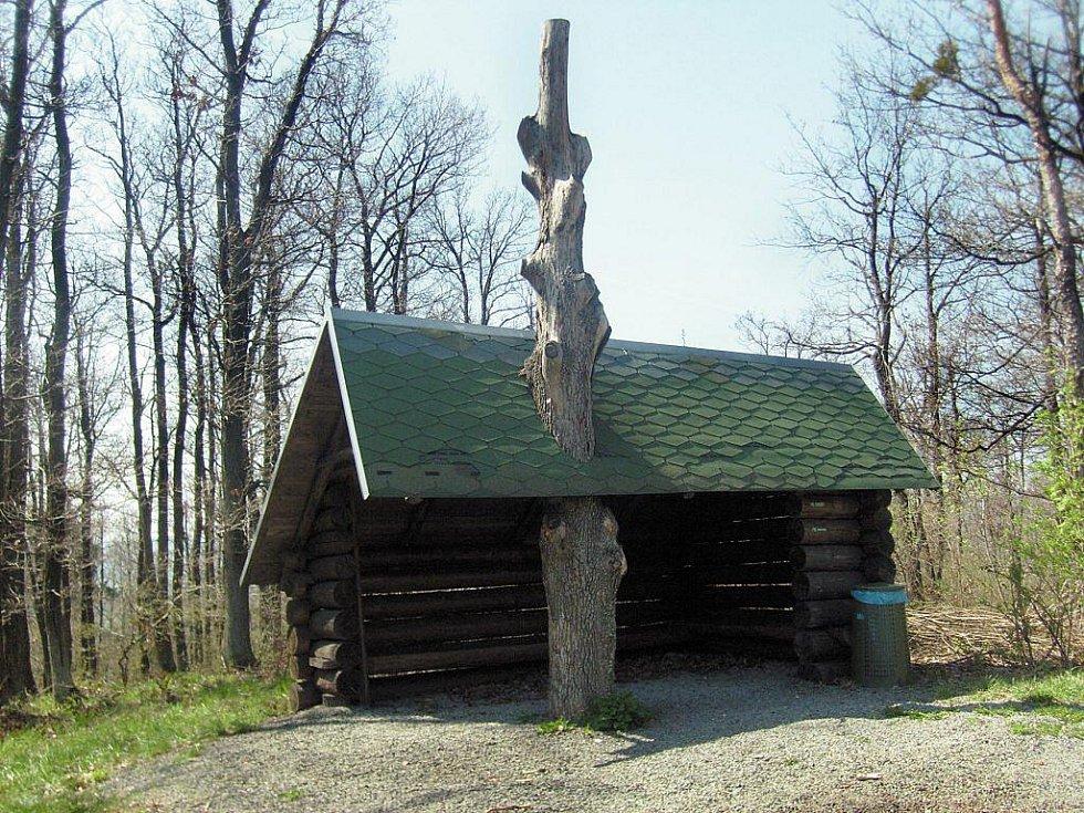 Odpočivadlo u rozhledny kde místo trámů nese střechu strom–sloup.