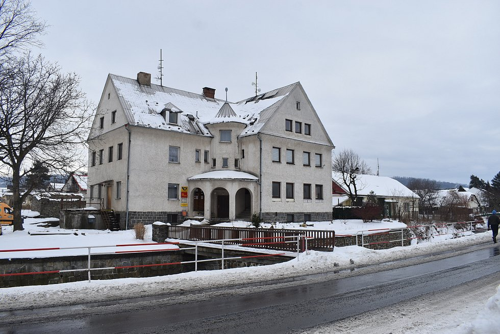 Jindřichov ve Slezsku je centrem regionu Jindřichovsko. Snímek z konce února 2021.