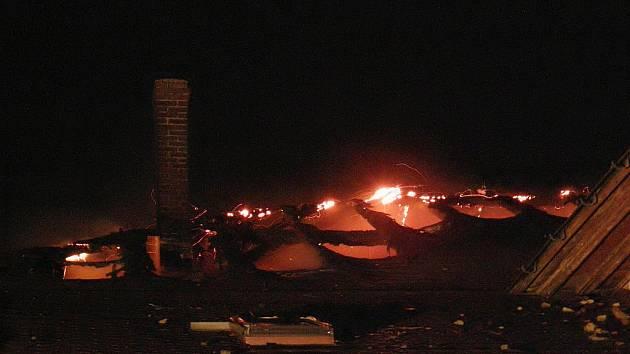 Střechu sokolovny zachvátily plameny