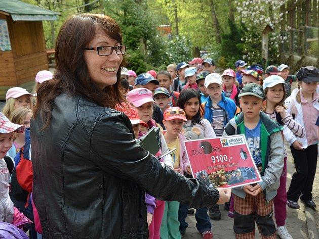 Symbolickým předáním šeku přispělo Město Benešov nad Ploučnicí na chov medvědů hnědých grizzly v děčínské zoologické zahradě.