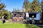 Požár chaty v Jetřichovicích.