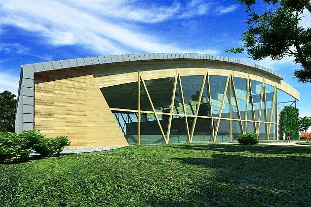 VIZUALIZACE. Takto by měla střecha na varnsdorfském zimním stadionu vypadat. Díky tomu se stadion promění v multifunkční.