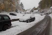 Sníh ve Fojtovicích na Děčínsku.