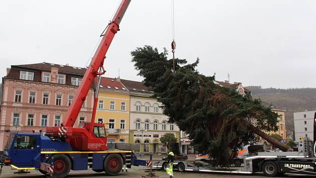 Děčín přivezl na náměstí vánoční strom.