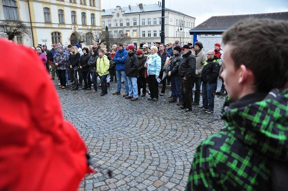 Demonstrace proti amnestii ve Varnsdorfu.
