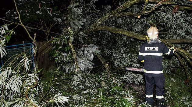 Hasiči ve Varnsdorfu likvidovali následky deště a větru.