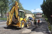 Zahájení výkopových prací v Teplické ulici v Děčíně.