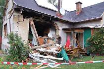 Výbuch zdemoloval domek ve Varnsdorfu