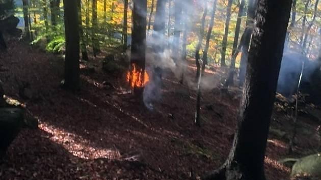 Požár v Hřensku.